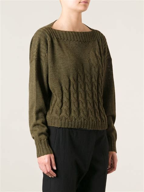 green cable knit sweater jean paul gaultier cable knit sweater in green lyst
