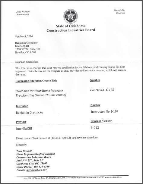 license certification letter oklahoma pre licensing course for home inspectors
