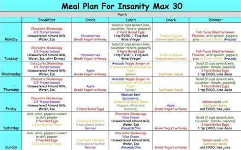 day meal plan examples  examples