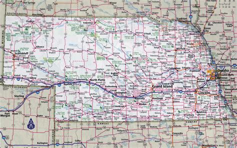 ne map large detailed roads and highways map of nebraska state