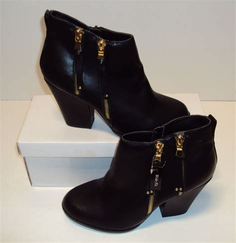 black ankle wide boots block heel chelsea zip new