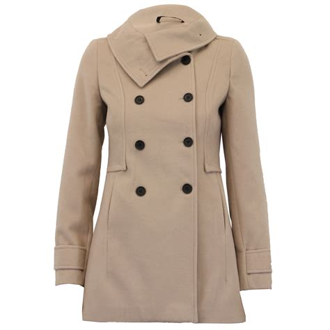 Outer Coat Jaket Wanita Outerwear Jaket wool look coat womens jacket breasted outerwear trench winter new ebay