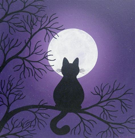 easy painting cat black cat in the moonlight painting