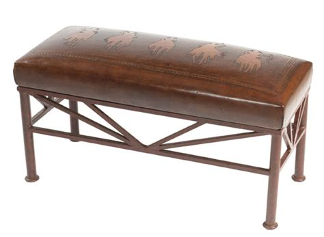western style benches tooled leather bench