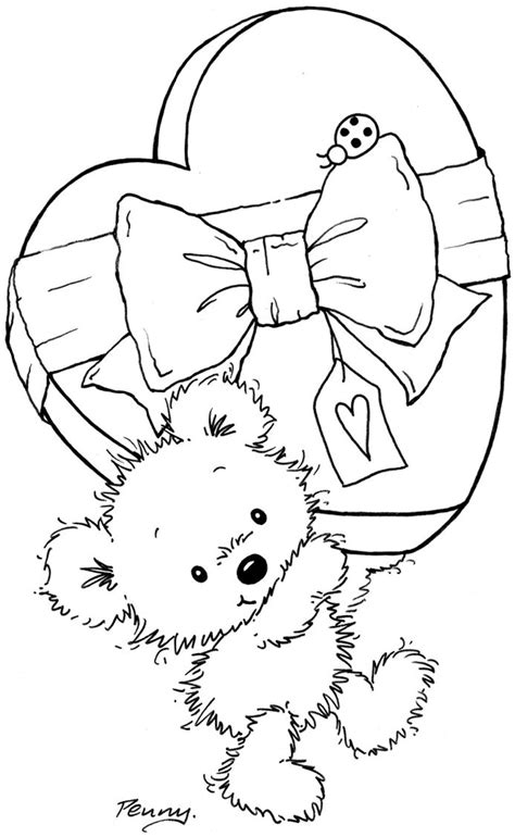 coloring pages of bears holding hearts 473 best images about digi sts on pinterest snail