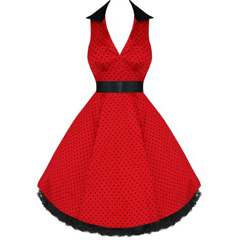 kleid swing rot damen kleid rot schwarz gepunktet vintage rockabilly swing