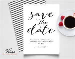 Wedding Save The Date Template by Black And White Custom Printable Save The Date Save The