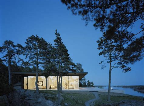 Modern Lake House In Sweden Evening Lights View Stunning Lake House In Sweden