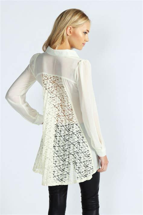 Blouse Jessyca boohoo pleated lace back chiffon blouse ebay