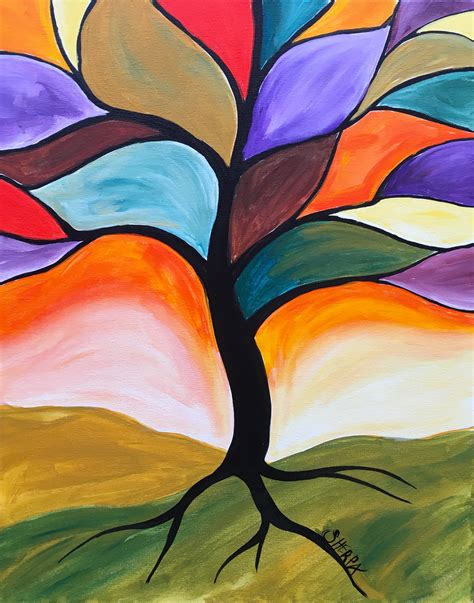 painting you can print fall stained glass tree easy peasy acrylic painting lesson