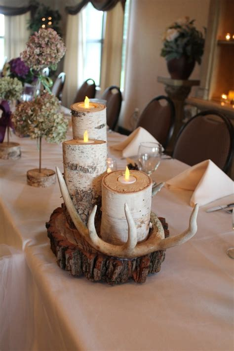 Rustic Wedding Table Decorations Birch Tree Candles And Birch Wedding Centerpieces