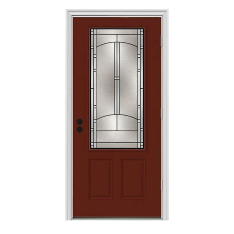 Interior Steel Door Jeld Wen 37 438 In X 81 75 In 3 4 Lite Idlewild Mesa W White Interior Steel Prehung Left