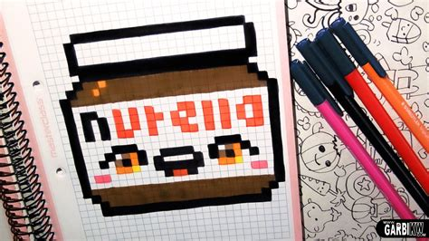 Handmade Artwork - handmade pixel how to draw a kawaii nutella by garbi kw