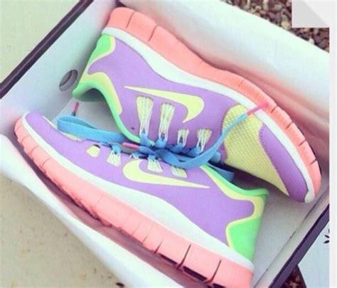 shoes nike nike free run pastel yellow purple pink
