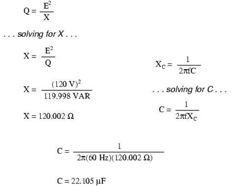 power of a capacitor equation the electric power factor of calculation