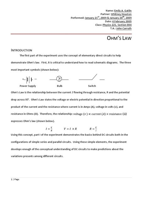design a laboratory experiment to determine the resistivity of glass physics 222 ohm s law lab report resistor series and