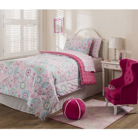 k mart bedspreads mainstays sherbet pink bed in a bag bedding set walmart