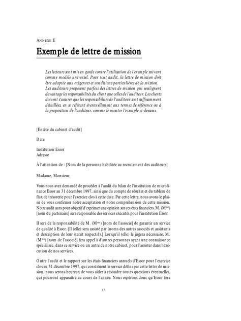 Exemple De Lettre De Dã Mission ã Tudiant Lettre De Mission D Audit