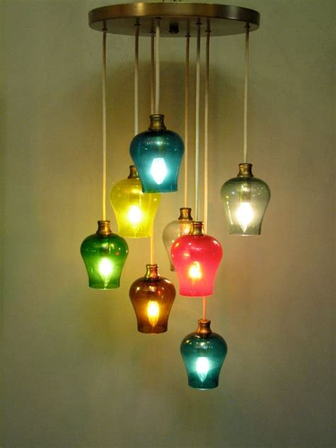 colored glass pendant lights vintage mid century modern multi colored glass pendant