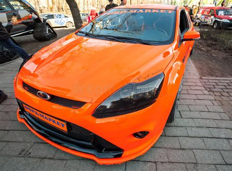 bright orange cars bright orange sporty styled ford focus car editorial photo