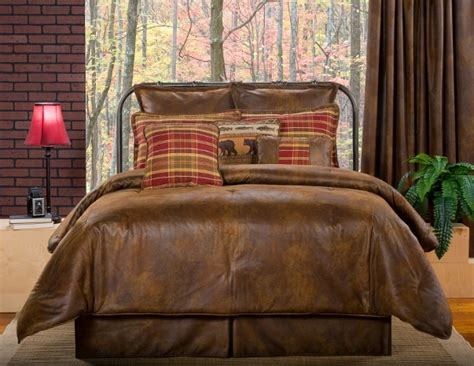 4pc dark brown red lodge style faux leather comforter set