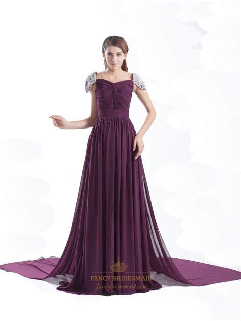 grape chiffon beaded cap sleeves pleated prom dress with