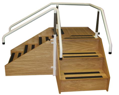 90cm Height Portable White Wooden Fence Back Drop 1 corner steps with adjustable handrails non slip ems physio