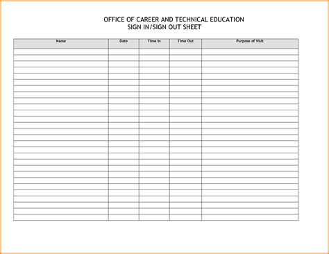 sign out sheet template sign in and sign out sheet template image collections