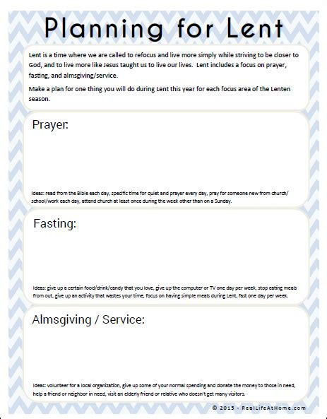 Lent Worksheets by Planning For Lent Free Lenten Printable Planning Pages
