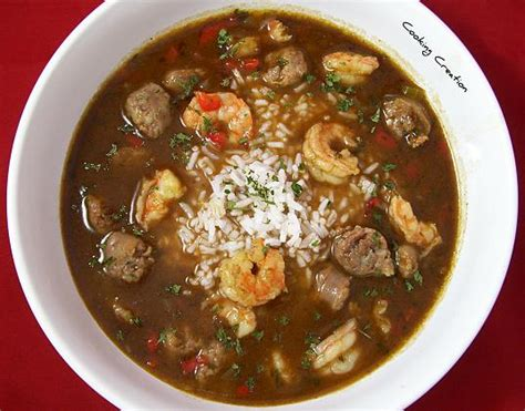 cooking creation cajun shrimp sausage gumbo