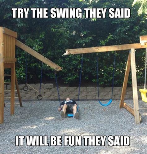 swing set fail too heavy to swing