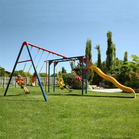 adventure swing set lifetime monkey bar adventure metal swing set walmart com