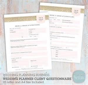 Wedding Planner Questionnaire Template Wedding Planner Client Questionnaire Photoshop Template Ng039