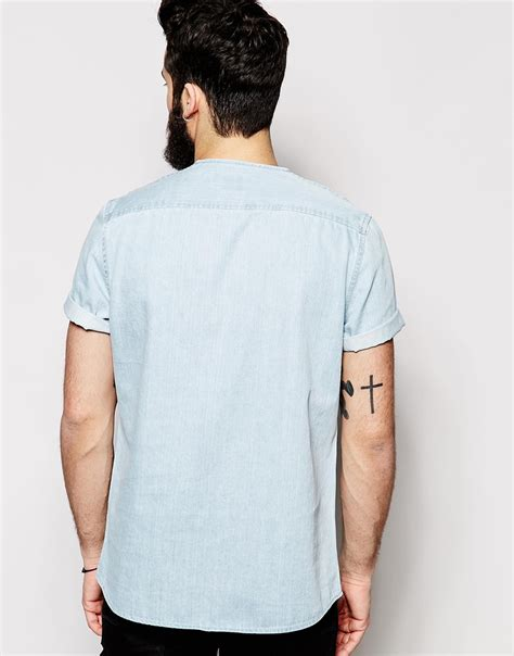 Kaos Ra Sleeve asos collarless shirt in sleeve with the styling in blue for lyst