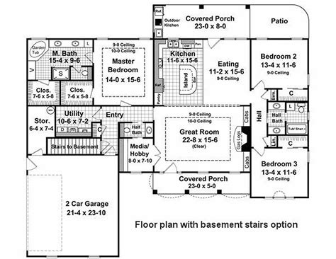 country style house plan 3 beds 2 50 baths 2000 sq ft