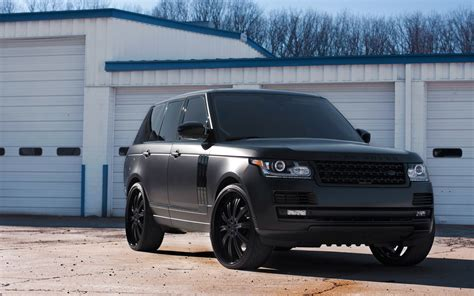 black land rover with black range rover vogue matte black hdwallpaperfx