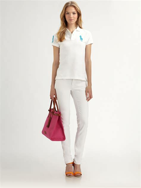 Blouse Qorry Polo Pink lyst ralph blue label polo shirt in white