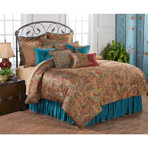 Teal Comforter Sets by San Angelo Comforter Set With Teal Bedskirt King