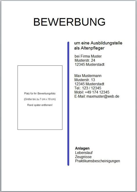Bewerbung Ferienjob Firma Muster Das Deckblatt F 252 R Die Bewerbungsunterlagen Www Kompass Ins Berufsleben De