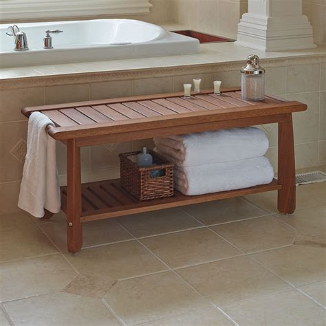 bath bench the brazilian eucalyptus bathroom bench hammacher schlemmer