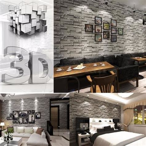 brick stone effect  wallpaper wall paper roll home