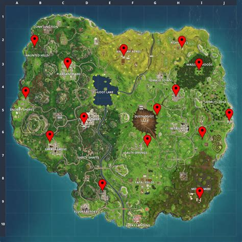 fortnite locations fortnite letters map and locations where to find f o r t