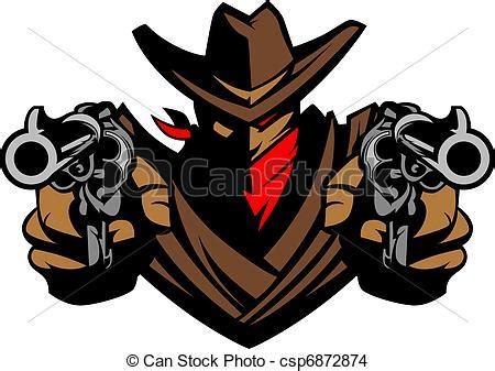 tekening van cowboy, mascotte, mikkend, boordgeschut