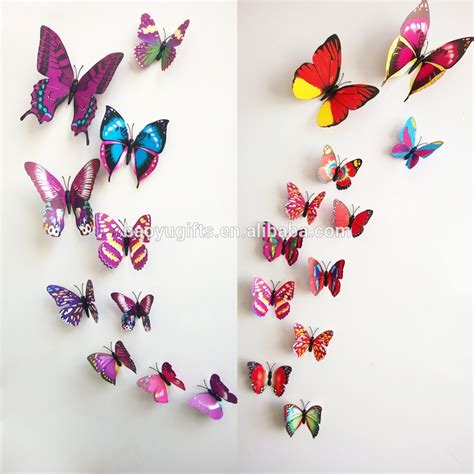 C40 Wallpaper Sticker Green With Butterfly butterfly cut out pattern removable home wallpaper diy room decoration 3d wall stickers