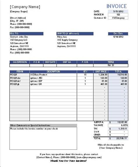 invoice template excel 2007 free invoice