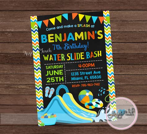 free printable birthday invitations water water slide party invitation waterslide birthday invitation