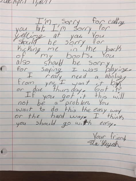 Apology Letter Student my friend is a rd grade he made a student write an