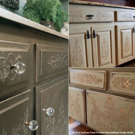 kitchen cabinet doors painting ideas 20 diy cabinet door makeovers with furniture stencils royal design studio stencils