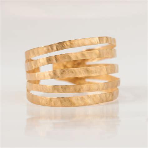 Handmade Bangle Bracelets - hammered handmade 24 karat gold plated cuff bracelet
