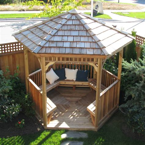 Hexagon Gazebo With Wooden Material And Wood Seating